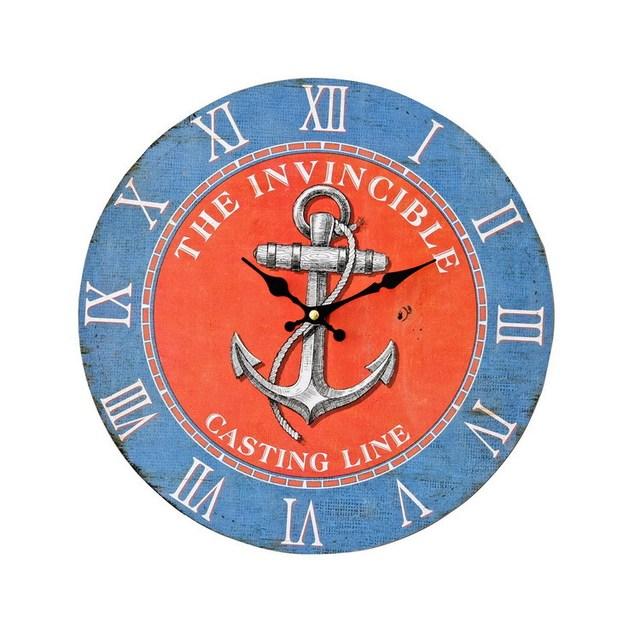 Mediterranean Loft Decor 35mm Round Blue Red Anchor Wall Clock Restaurant Coffee Bar Decorative Wood Clock