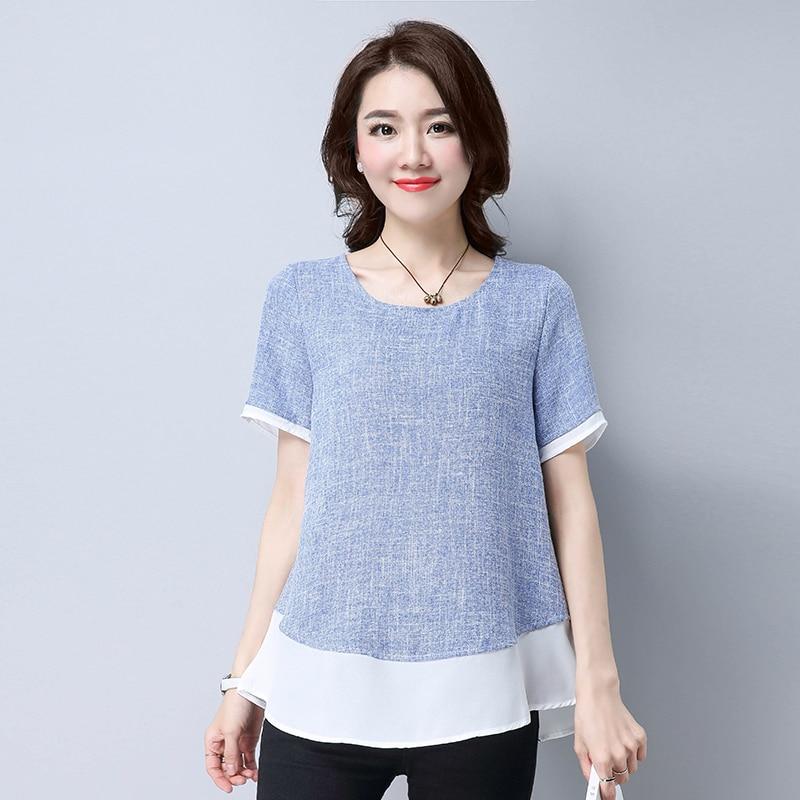 Summer Blouse Shirt For Women Short Sleeve Women Blouses Cotton Linen Tops Female Korean Plus Size Chiffon Spliced Ladies Blouse