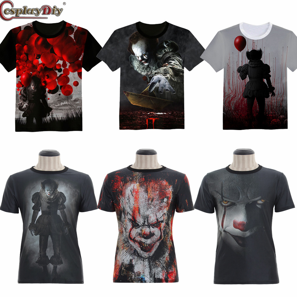 Stephen King's It Horror Movie PennyWise Cotton T Shirt Joker Cosplay 3D Printed Pennywise Costume Clown T Shirt Top Custom made