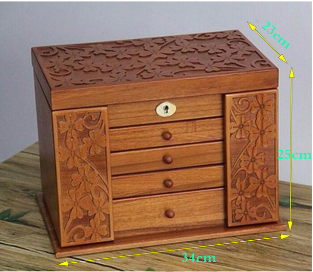 Clover real wood jewelry box retro style large multilayer marriage holiday gift makeup organizer storage box case 34*25*23cm