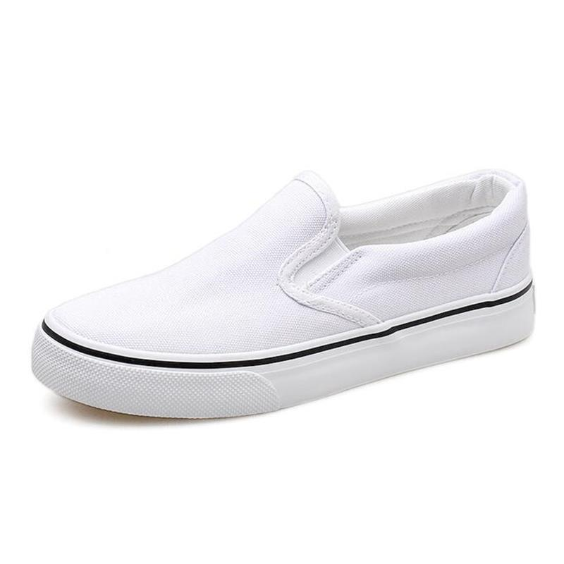 Fashion Women's Vulcanize Shoes Casual Shoes Flats Unisex Canvas Loafers Autumn Spring New Shallow Slip-on White Plus Size 35-44