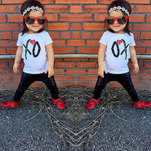 2017 New Baby clothes set Toddler Kids Boys Girls White T-shirt Tops +PU Pants Outfit Sets 2pcs