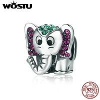WOSTU Hot Sale 925 Sterling Silver Lucky Elephant Animal Beads Fit Original WST Charm Bracelet Lovely