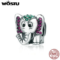 WOSTU Hot Sale 925 Sterling Silver Lucky Elephant Animal Beads Fit Original WST Charm Bracelet Lovely