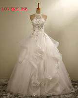 Wedding Dress New 2016 Bride Retro Korean Beading Crystal Lace Halter Slim Embroidery Autumn And Winter