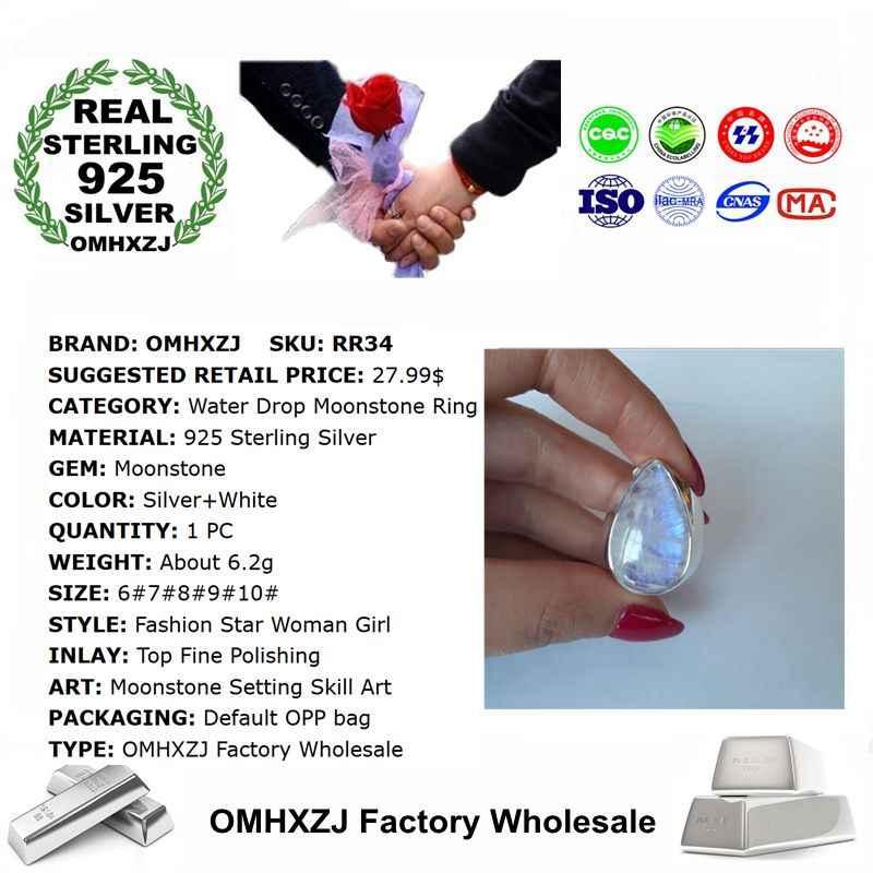 OMHXZJ Оптовая Продажа Европейский модный женский мужской праздничный свадебный подарок серебро белый капли воды лунный камень кольцо из стерлингового серебра 925 RR34