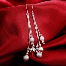 Free Shipping!!Wholesale Silver Plated Earring,Wedding Jewelry Accessories,Three Line Beads Fashion Women Earrings