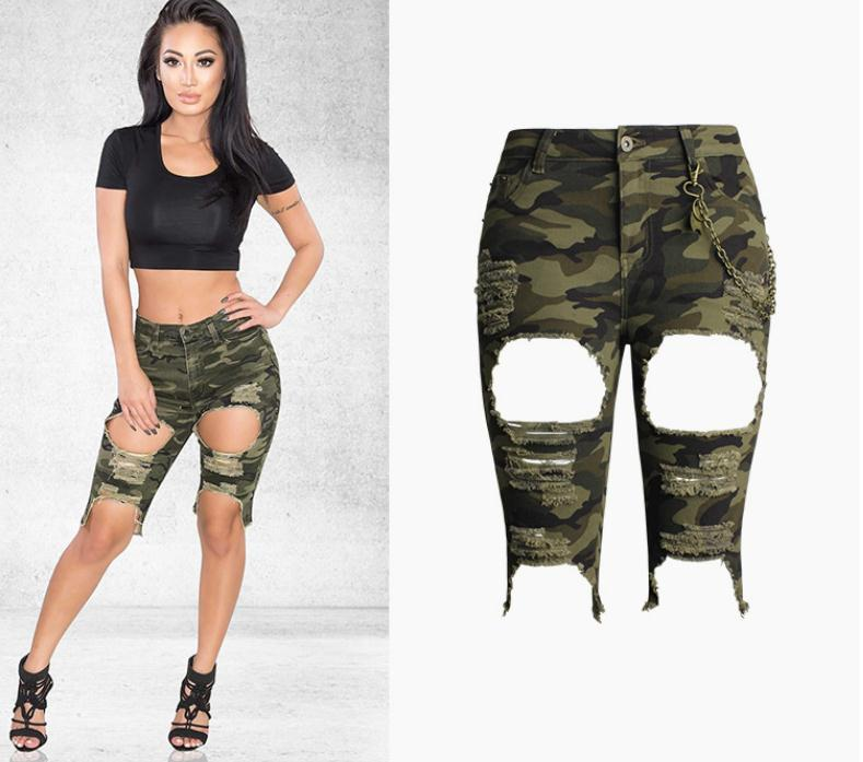 2019 Newest Womend High Waist Big Hole Slim Camouflage   Shorts   Knee Lenght Cargo Skinny Jeans   Short   S/3Xl Bermuda J2709