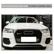 Q3 SQ3  Sline  Grille black Emblem Front Bumper mesh Radiator Grille For Audi Q3 SQ3 2016~2018  S Line car styling