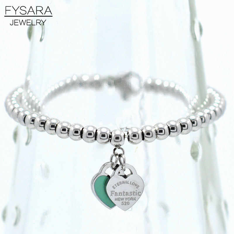 FYSARA Brand Luxury ETERNAL Couple Bracelets Double Heart Balls Beaded Bracelet For Women Couple Green Pink Charm Bracelets
