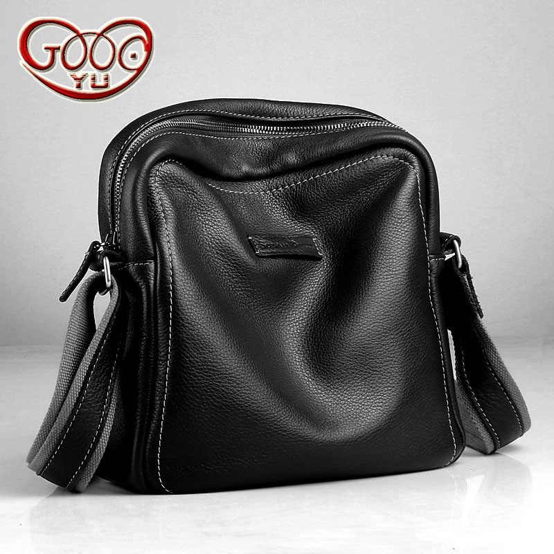 Korean version of the first men's leather shoulder bag leather Messenger bag men's vertical section of pure color zipper bag new korean version of the first layer of leather pillow bag large lychee pattern handbag shoulder messenger fashion leather leat