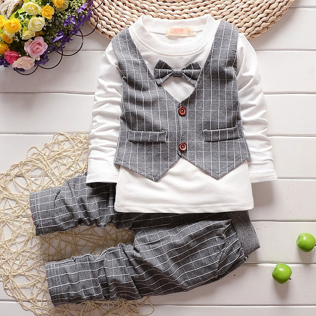 2017 baby child clothes plaid suit boys Gentleman suit for spring autumn baby boy clothing outfit Fashion brand design suits set