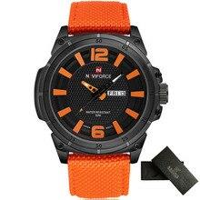 2016 NAVIFORCE Reloj Ocasional de Los Hombres de Primeras Marcas de Lujo de Cuarzo Militar Relojes Hombres Fecha Reloj de La Manera de Nylon Negro Sport Relojes de Pulsera