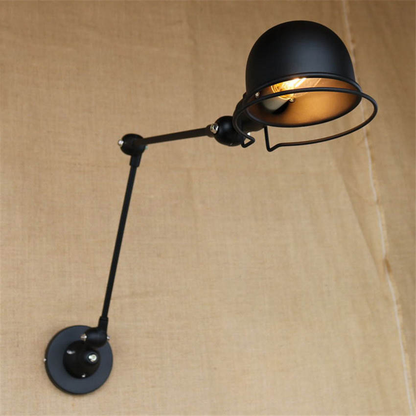 retro swing arm edison wall lamp metal shade vintage wall sconces wall mount bedside reading. Black Bedroom Furniture Sets. Home Design Ideas