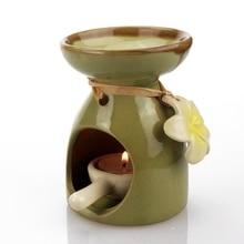 Керамическая Арома горелка масляная печь с подсвечником с цветочным декором Свеча лампа Йога комната спа поставка Z