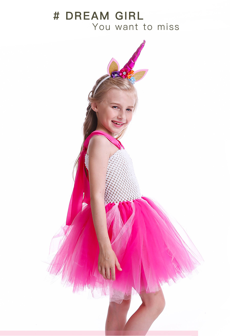 Girls Rainbow Tutu Dress with Unicorn Headband Children Princess Fancy Party Dress Christmas Halloween Kids Pony Costume (5)