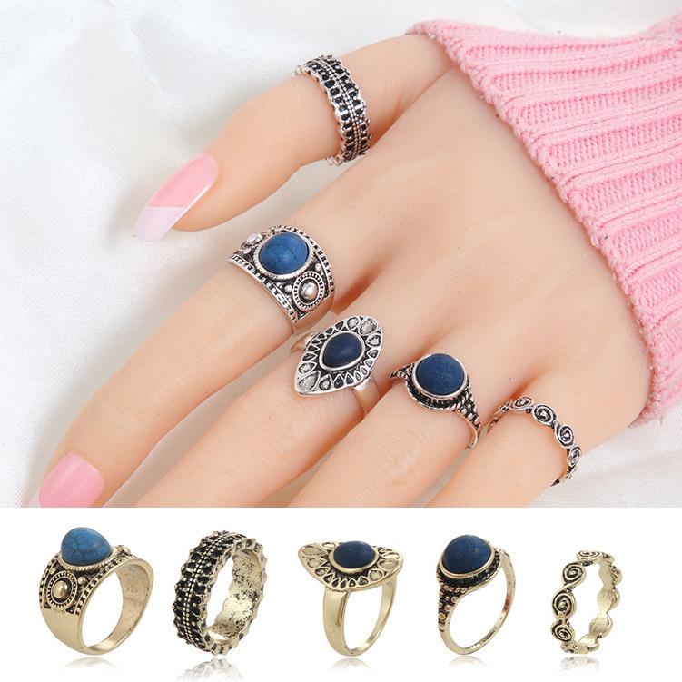 5 pcs/Set Vintage Retro Carving Antique Gold Color With Black Stone Rings Sets for Women Midi Rings Jewelry 3293 gold earrings for women