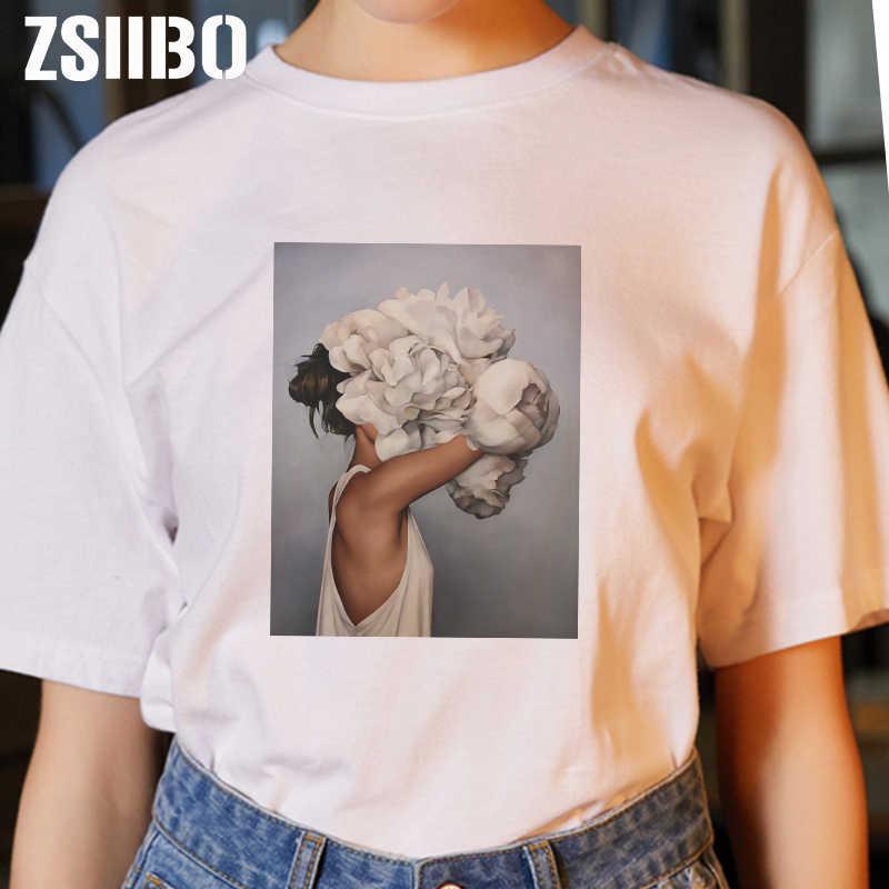 Kwiat sztuki druku lato kobiety Harajuku Sexy kwiaty dorywczo krótkim rękawem topy pary moda O-neck kobiet T-Shirt topy