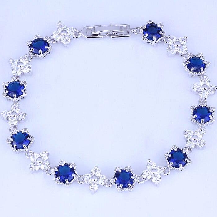 d889baadf90 Love monologue estética estrella azul cristal y Cubic zirconia color plata  pulseras para mujeres cadena longitud 18.3 cm B0052