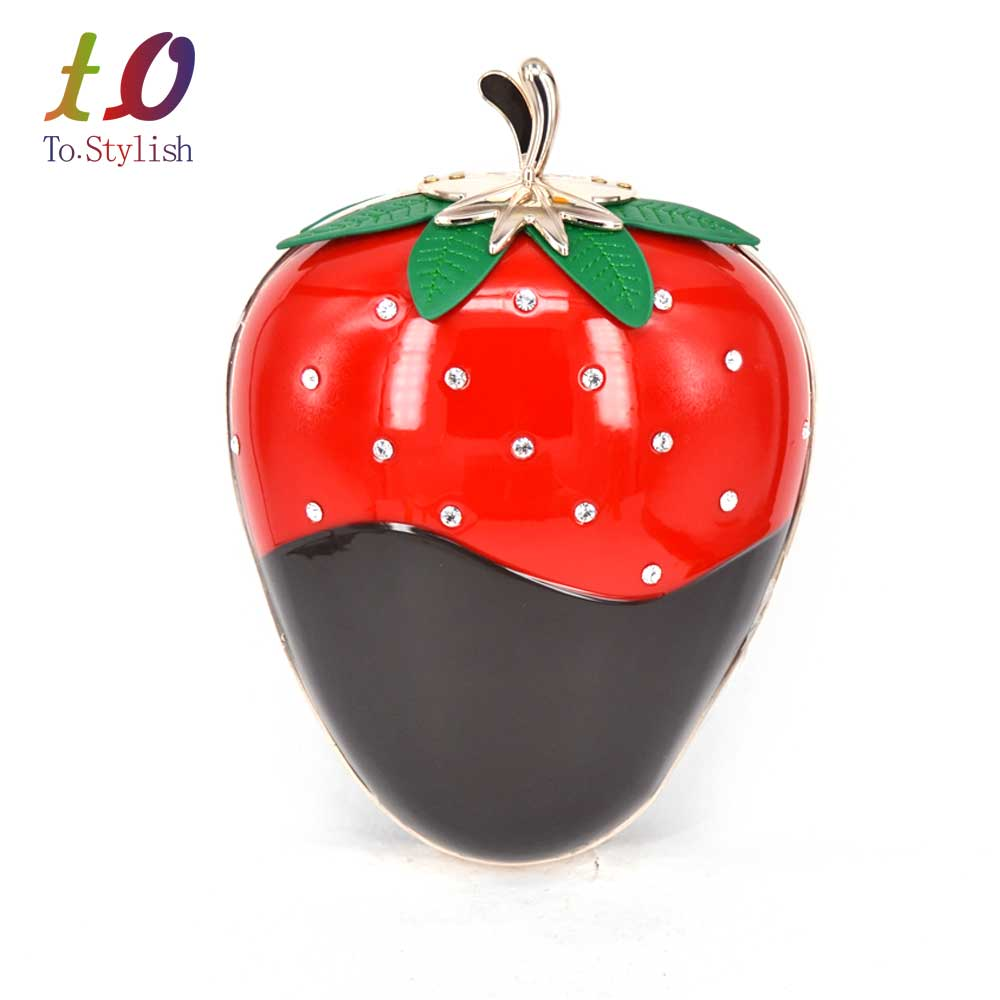 Strawberry christmas ornaments - Strawberry Shape Hard Cased Woman Fashion Clutch Bag Evening Clutch Handbag Purses With Chain Personality Fruit