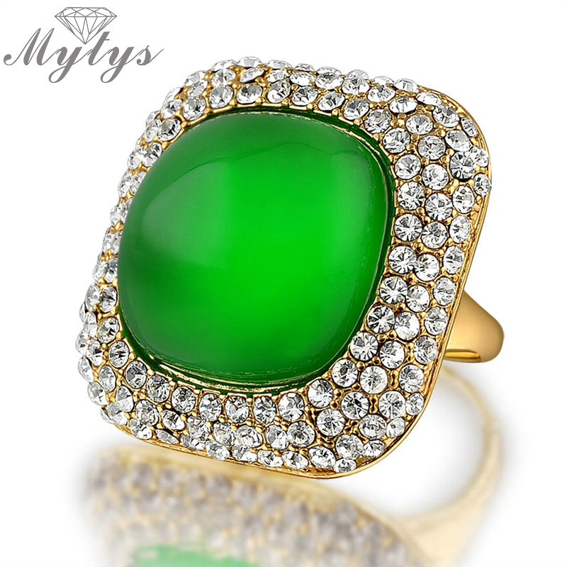 Mytys Green Stone Rings for Women High Quality Wholesale Price Jewelry Limited In Stock Sale Fashion Antique Ring R624 ...
