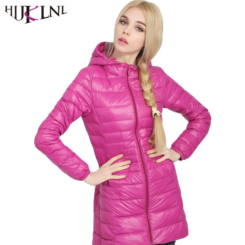 HIJKLNL Women Winter Down Jacket Women 90 Duck Down Outwear Parka Ultra light Long Elegant Outwear