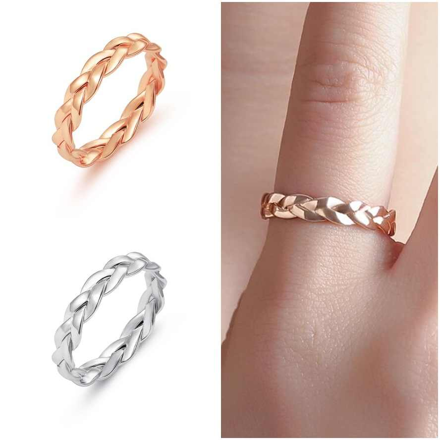 High Quality 1 Pcs Fashion Female Small Ring Silver Gold Color Twisted Alloy Ring for Women Wedding Party Ring Size 6/7/8/9/10