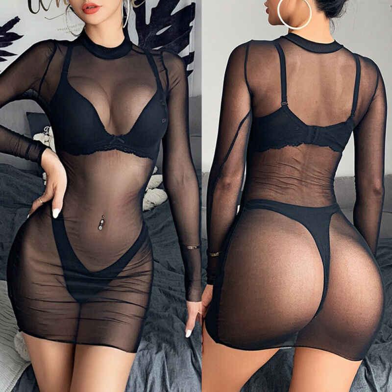 Gợi Cảm Nữ Lưới Sheer Thấy Mặc Dù Bodeau Đầm Mùa Hè 2019 Tay Dài Cổ tròn Đen Xanh Neon Đầm Bãi Biển Midi đầm Clubwear