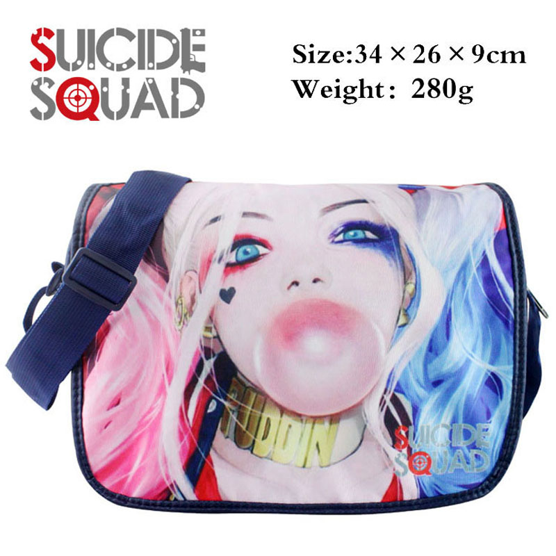 Movie Suicide Squad Harleen Quinzel Polyester Aslant School Satchel Harley Quinn Crossbody Shoulder Bag
