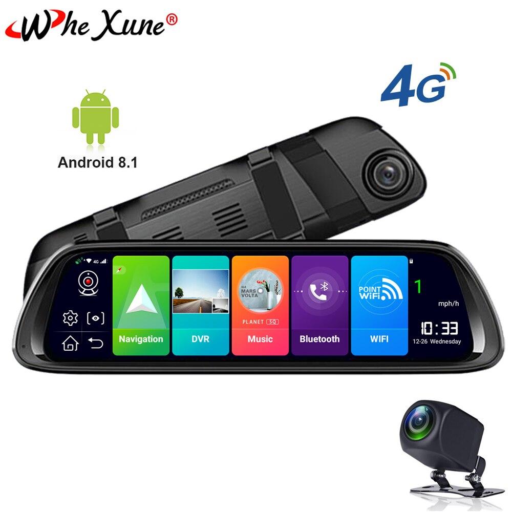 WHEXUNE 2019 Car DVR Camera GPS Navigator 4G 10 Android 8.1 Stream Media Rear View Mirror FHD 1080P GPS Mirror Dash Cam Recorde
