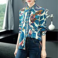 England Style Fashion Women's 2019 Spring New 3D Print Silk Shirt Woman Clothes 2019 Festival Ladies Blouses Tunic Women
