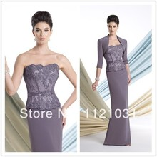 2014 New Custom Colors Elegant Sheath With Jacket Lace and Chiffon Mother of the Bride Dresses Custom-made AW-02