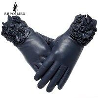 Véritable gants En Cuir gants en cuir de la Mode féminine De Luxe Populaire gants hiver Lady style gants femmes Floral design