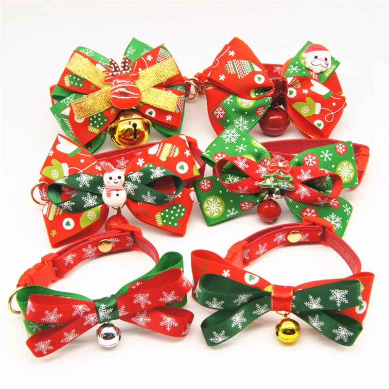Christmas Series Pet Collar  Bells Bowknot For Dog And Cat Bow Tie Supplies Decoration Accessories