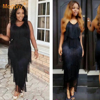 2019 Women's Elegant Black Bandage Long Dress Summer O Neck Sleeveless Fringe Dress Sexy Club Party Dress Bodycon Vestidos