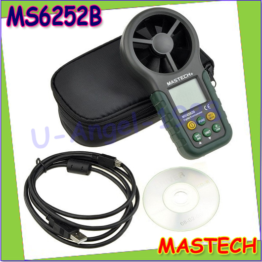 1pcs MASTECH MS6252B Digital Anemometer Wind Speed Meter Air Volume Ambient Temperature Humidity Tester With USB Interface  цены
