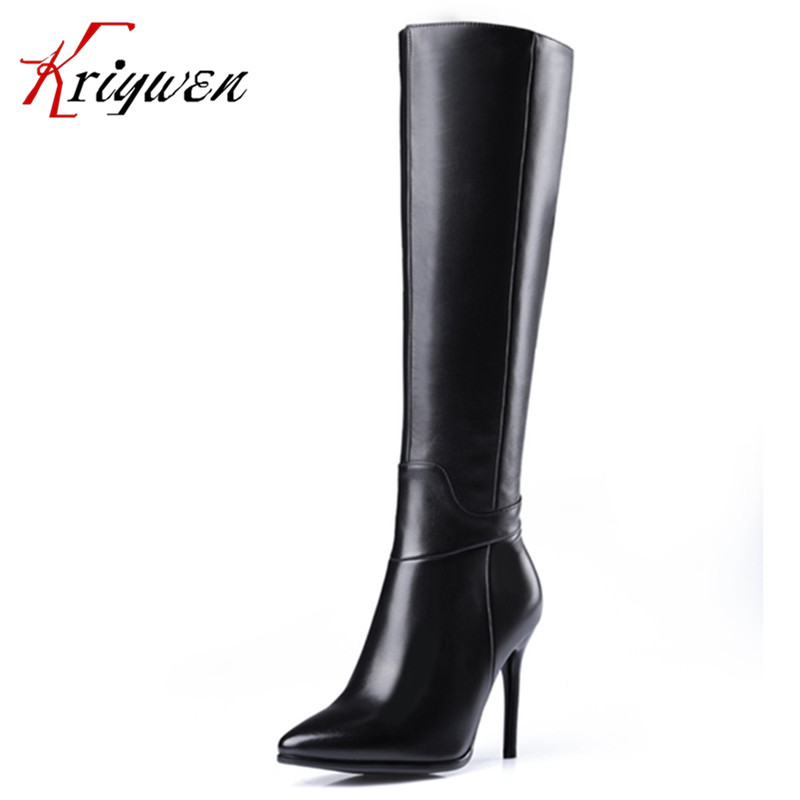 цена winter All leather brand fashion women boots thin high heels footwear lady shoes knee high boots female sexy warm knight boots