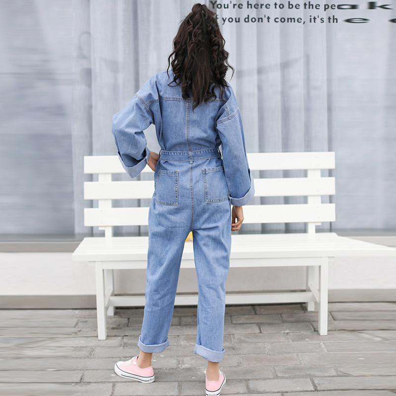 2a0db28b3e9 Plus Size Jeans Jumpsuit Turn Down Collar Long Sleeve Casual Denim Rompers  Denim Jumpsuits With Belt Fashion Overalls Okd244 -in Jumpsuits from  Women s ...