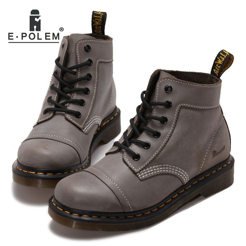 Vintage Light Grey Oil Wax Martin Boots Stylish Steampunk Shoes Genuine Leather Retro Round-Toe Pacthwork Ankle Booties front lace up casual ankle boots autumn vintage brown new booties flat genuine leather suede shoes round toe fall female fashion