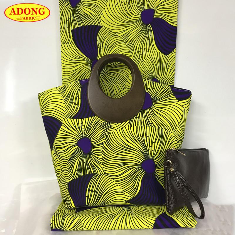 New High quality wax handbag sets 2018 popular woman s wax bags with 6 yards cotton