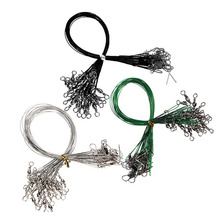 72PCS/lot Fishing Tackle Lure Trace Wire 15cm 23cm 30cm Length Anti-bite Green Fishing wire
