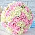 2017 Barato de La Boda/la Dama de honor Ramos de Flores de Color Rosa y Marfil Nupcial Hecho A Mano Rosa Artificial ramo de la boda Ramo de mariage
