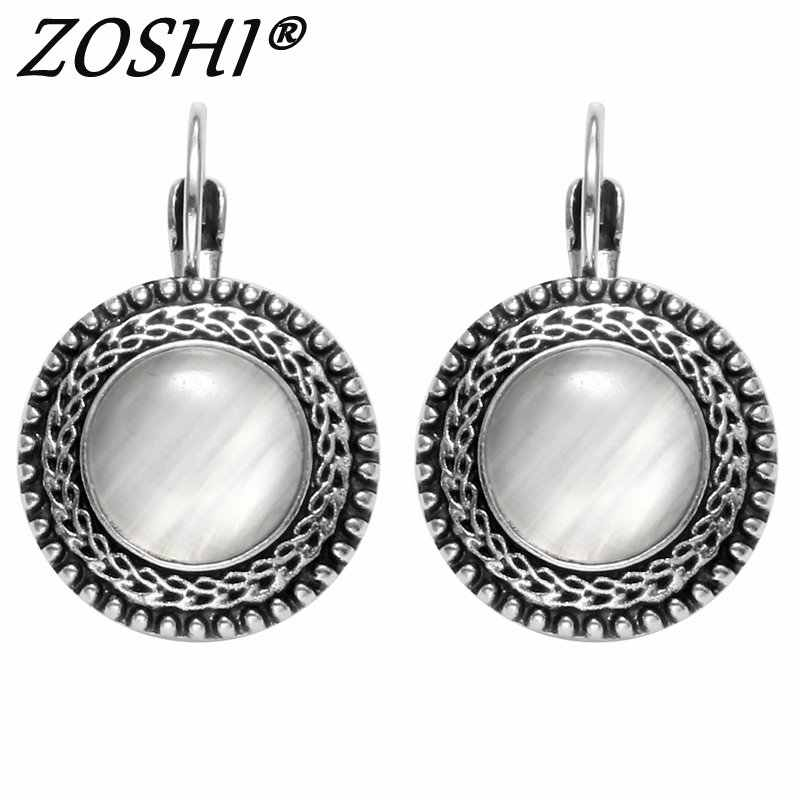 2019 Fashion Jewelry Tibetant Silver Earring For Women Opal Drop Earrings Stone Pendientes Mujer Moda Earings Wholesale Brinco