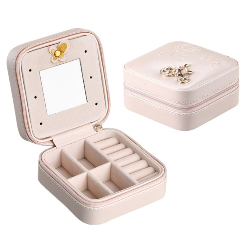 10CM Jewelry Box Portable Travel Organizer Jewelry with Mirror Leather Jewelry Storage Case Jewelry Display Box in Storage Boxes Bins from Home Garden