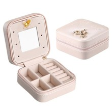 10CM Jewelry Box Portable Travel Organizer Jewelry with Mirror Leather Jewelry Storage Case Jewelry Display Box цена и фото
