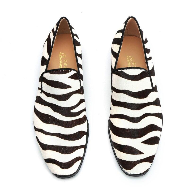 Qianruiti/Мужская обувь ручной работы из конского волоса; Повседневная обувь без шнуровки с принтом зебры для выпускного; модная дизайнерская п... - 4