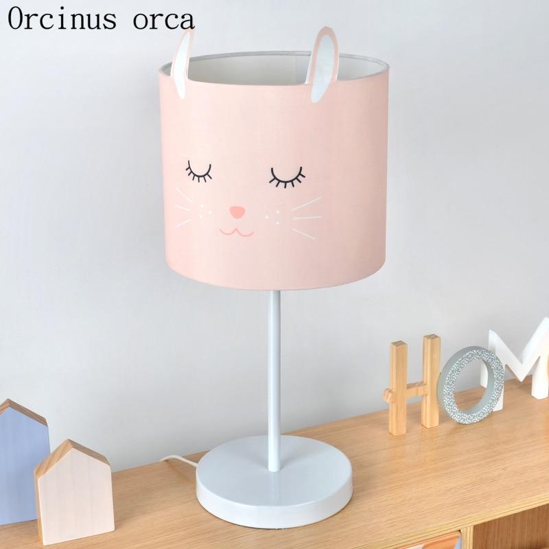 Cartoon creative rabbit pink table lamp children's room boys and girls bedroom bedside lamp American modern LED animal desk lamp
