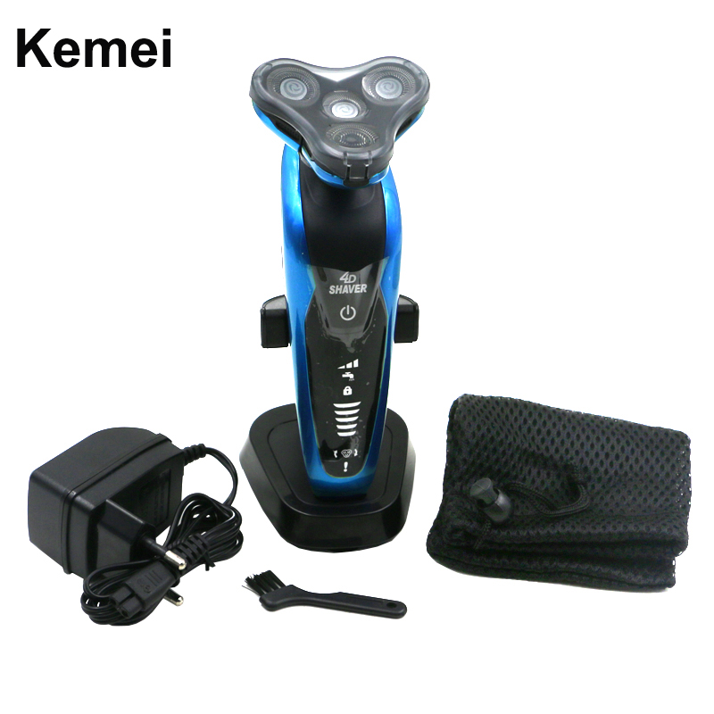 3 in 1 Washable Rechargeable Electric Razor 3D Floating Triple Blade Electric Shaving Razors Men Face Care Kemei