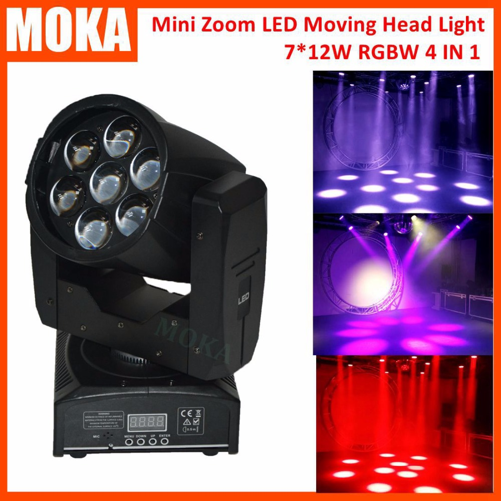 7*12W Led Zoom Focus Moving Head Light 95W RGBW 4IN1 Led DMX Stage Lights Dj Equipment Mini Moving Head 15-60 Degree Adjustable niugul dmx stage light mini 10w led spot moving head light led patterns lamp dj disco lighting 10w led gobo lights chandelier