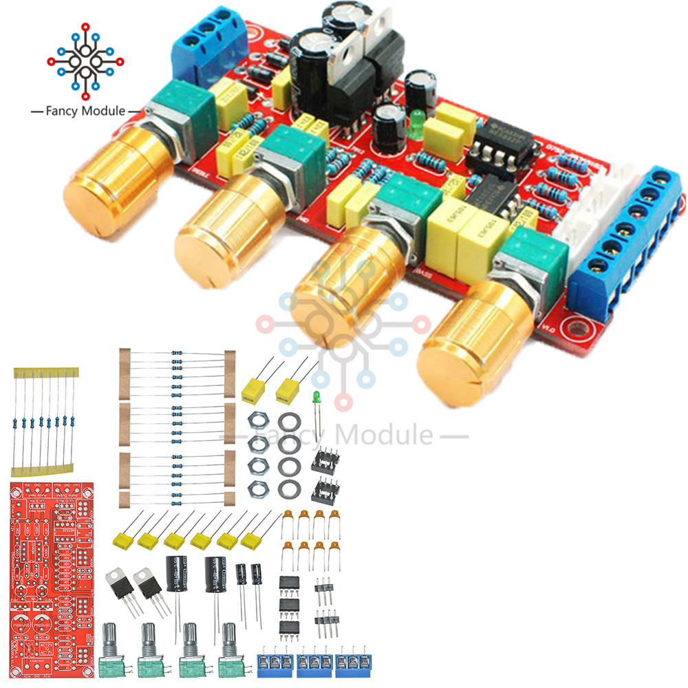 NE5532 Pre-amplifier Preamp Tone Board Kits DIY Treble Alto Bass Volume Control gzlozone diy kit njw1194 remote volume conrol kit treble